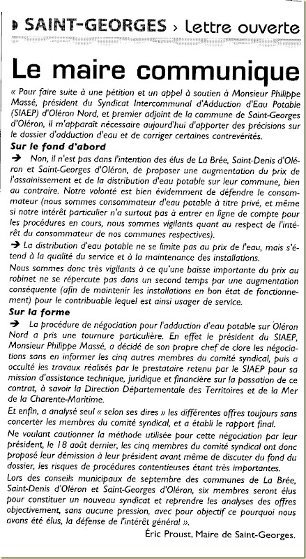 lettre maire st georges