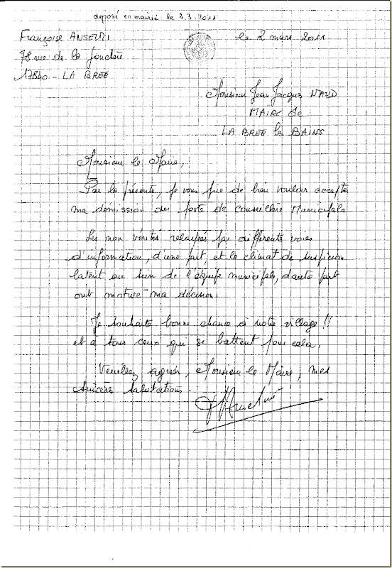 Lettre Françoise