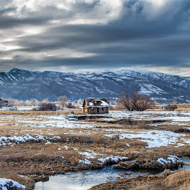 The small house in the fields by Andrew Jouffray - Landscapes Prairies, Meadows & Fields ( mountains, alone, river, filed )