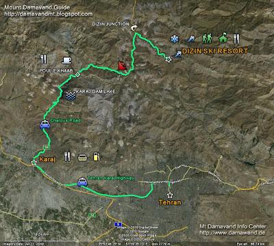 Dizin Ski Resort GPS Map