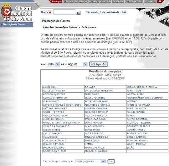 """Imagem do link """"Prestação de contas' no site da Câmara Municipal de São Paulo. Clique para acessar"""