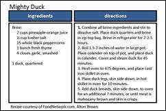mighty duck recipe card