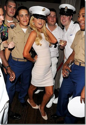 Paris Hilton and US servicemen attend the USO Swinging Salute to