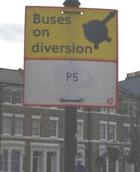 P5 bus on diversion sign, Vassall Ward