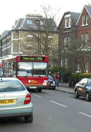 P5 bus in Vassall Ward Lambeth
