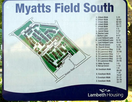 Myatts Field South estate sign, Vassall Ward, SW9