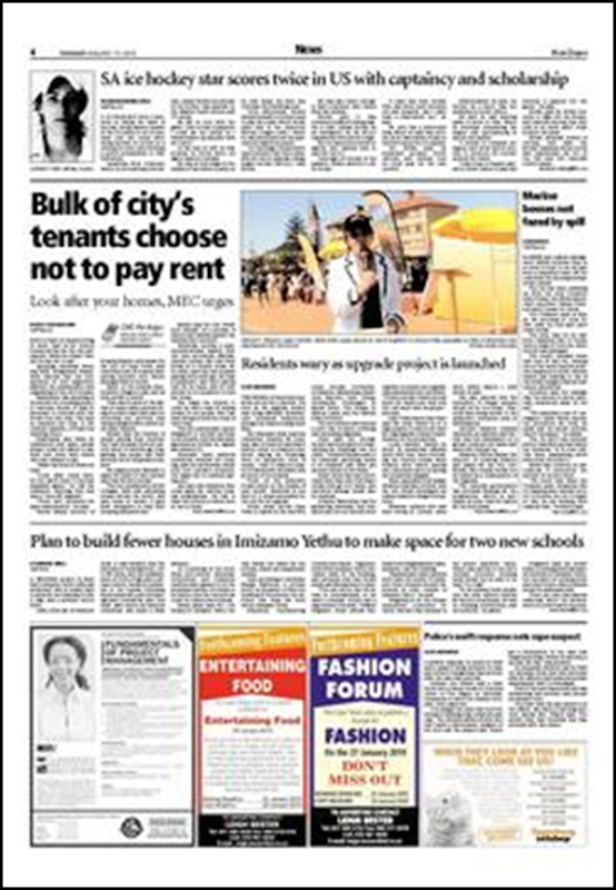 Cape Town tenants chose not to pay rent Cape Argus p4 Jan192010