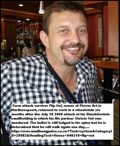 Nel Flip florist farm attack survivor July 30 2009 Hartbeespoort smallholding his partner Christo Smit was murdered