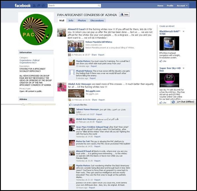 PanAfricanistCongressOfAzaniaFacebookSiteWithIslamistActivists