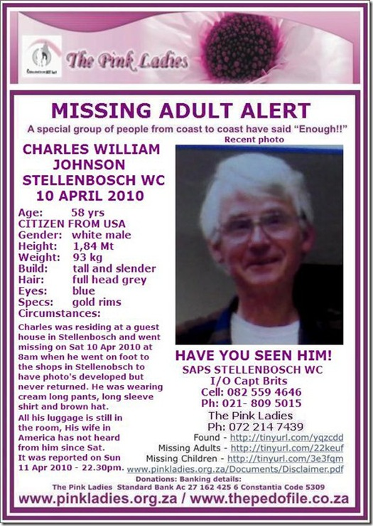 American tourist missing in Stellenbosch April 10 2010