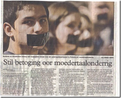 20000 Afrikaner pupils protested against removal of Afrikaans language rights from education NewsCuttingBeeld