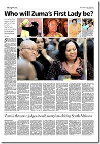 Who Will Zuma's first lady be Pretoria News April 11 2009