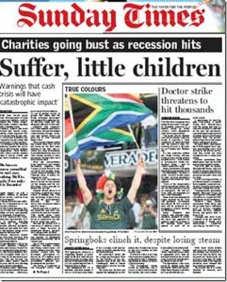 Times Johannesburg June 21 2009 Front Page