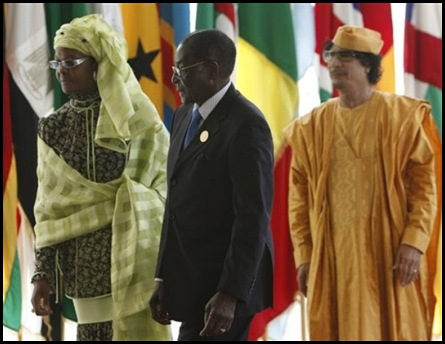 Grace and Robert Mugabe with Libyan leader Muammar Gadhafi King of Africa SirteJuly12009