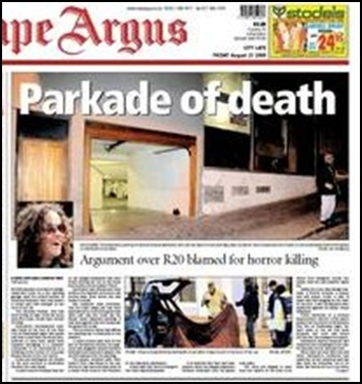 Gebhardt Kristina murdered over R20 parking row Cape Argus Aug 23 2009
