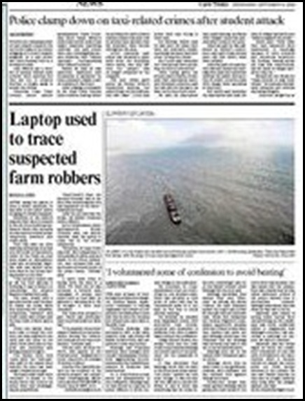Dutch student attack by minibus taxi gang Sept 9 2009 Cape Times
