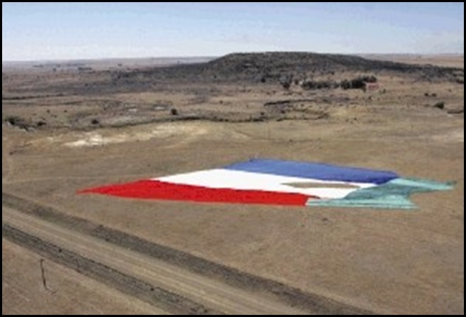Vierkleur Boer Republican Flag size of rugby field at 1836 Vegkop Battleground Heilbron Sept 27 2009