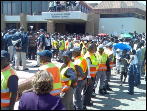 Black demonstrators disrupting Pretoria University student council elections a Sept82009