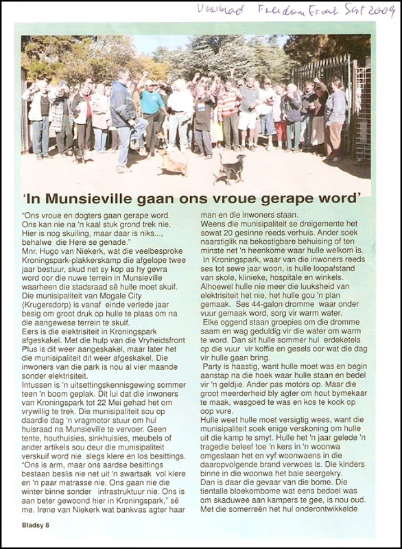 AfrikanerSquattersMuncievilleForcedRemovalMay2009