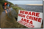 High Crime Area Warning Sign SA beaches