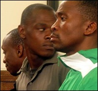 Dorning murder accused Pol.Insp Michael Sokhela r with welcome Madlala, Mlungisi Hadebe Howick KZN court Dec 1 2009