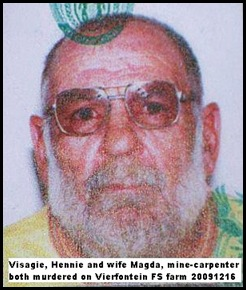 Visagie Hennie and wife Magda murdered TauLekoaMineCarpenterVierfonteinFarmOwnersWeltevredeDec152009