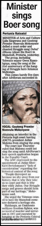 ANC Minister sings Shoot boer song April62010 Pretoria Mamelodi