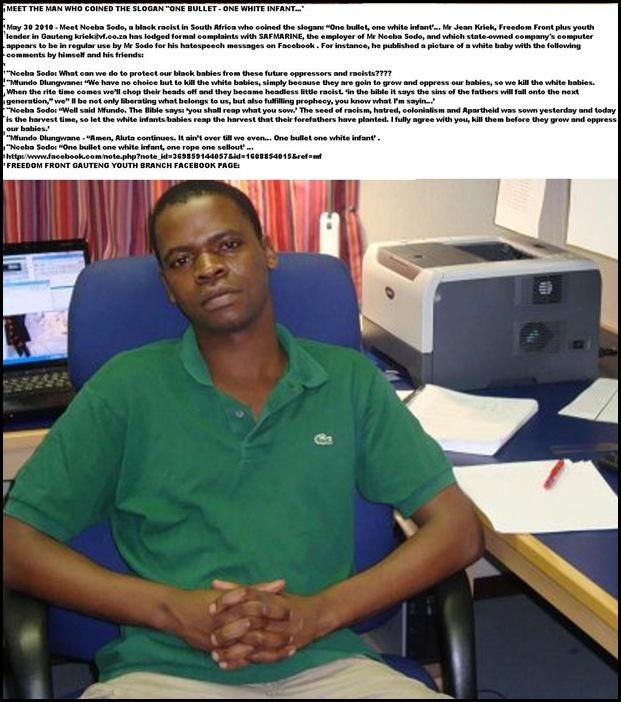 Sodo Nceba Safmarine employee PE wrote One Bullet One White Infant May302010 HisFacebook