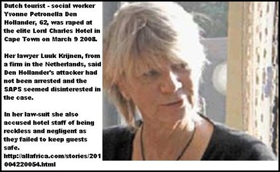 DenHollander YvonnePetronella 62 Raped at LordCharlesHotelCapeTownMarch92008