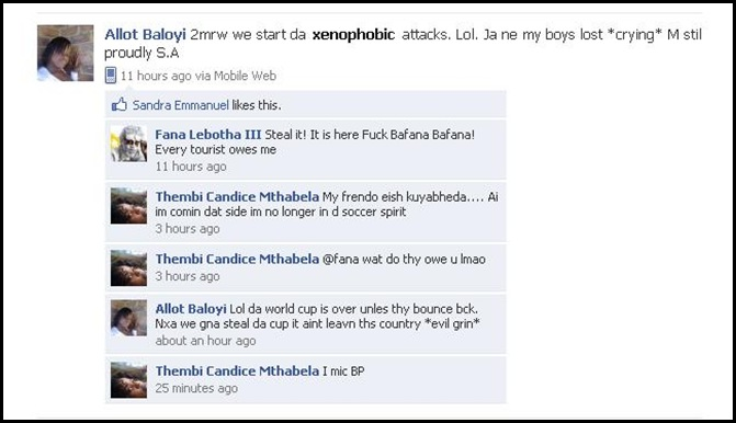 Baloyi Allot June172010 Tomorrow We start Xenophobic attacks Facebook