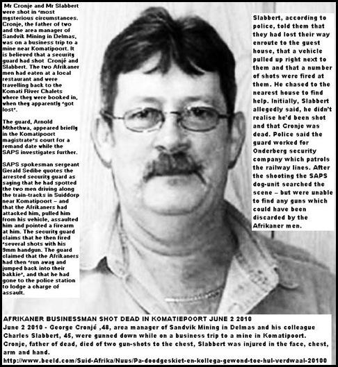 Cronje George shot dead Komatipoort June22010 Sandvik Mining Delmas manager