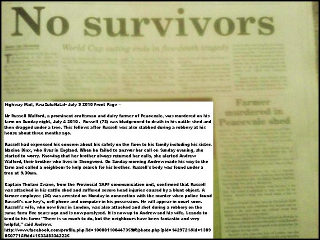 Walford Russell Murdered July 4 2010 PEACEVALE KZN HighwayMailFrontPage2