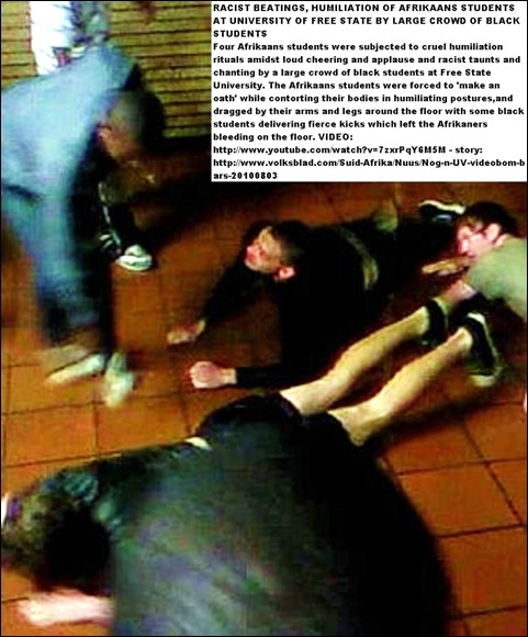 AFRIKAANS STUDENTS HUMILIATED BEATEN BY BLACK STUDENTS UFS VIDEO