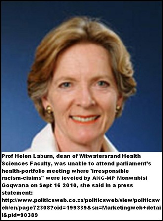 Laburn Prof Helen Wits dean faculty health sciences unable to respond to racism claims