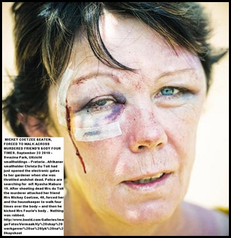 DuToit murdered woman friend Mickey Coetzee who was also brutally beaten in the face Sept232010