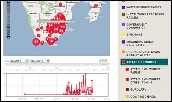 ATTACKS AGAINST WHITE SA SOAR TO TEN A DAY NOV 2010 FARMITRACKER MAP