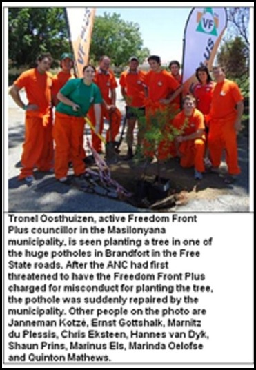 Brandfort AFRIKANER TAXPAYERS PLANT TREES IN POTHOLES NOV 13 2010 PEACEFUL PROTEST