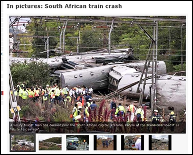 RAILWAY LUXURY TRAIN CRASH PRETORIA APRIL 2010