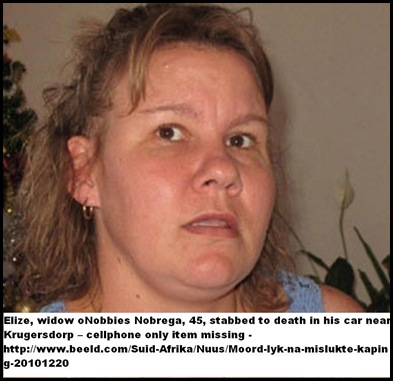 Nobrega Elize husband Nobbies stabbed to death on road near Krugersdorp Dec2010 ONLY CELLPHONE ROBBED