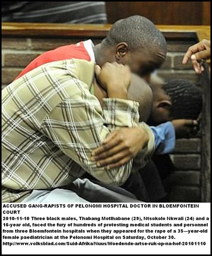 PELONOMI HOSPITAL GANG RAPE DOCTOR THREE SUSPECTS BLOEM COURT NOV102010