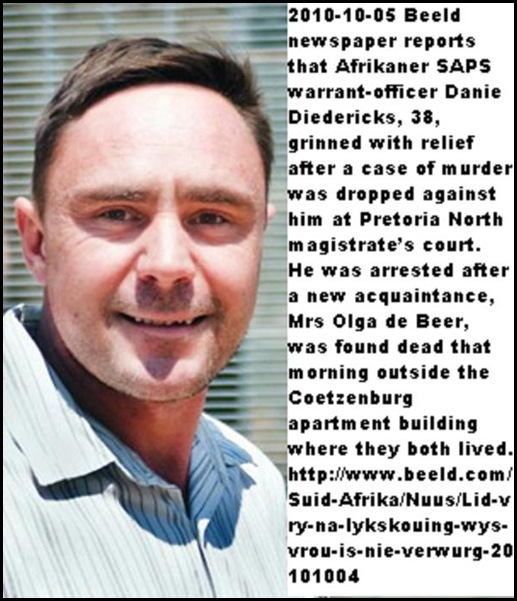 Diedrichs warrant officer Diedericks 38 Pretoria North OlgaDeBeer death not his fault