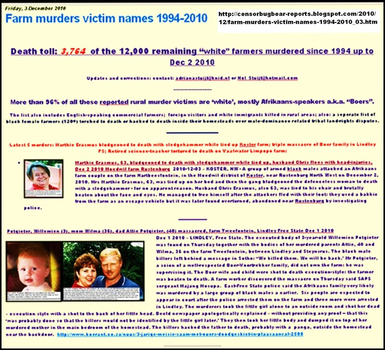Dec32010 FARM MURDERS UPDATES REACH 3764 DEATH TOLL DEC32010