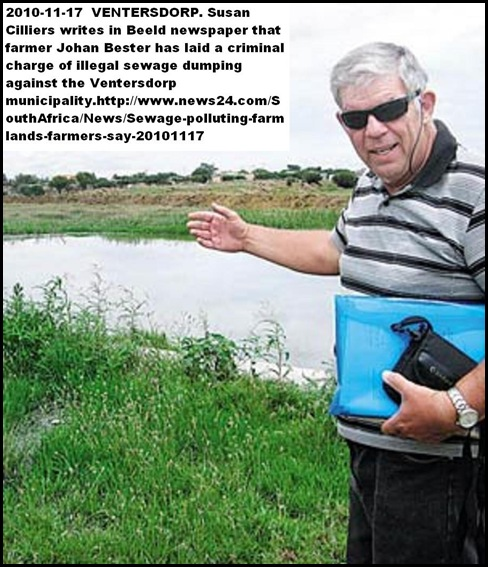 WATER POLLUTION FARMER JOHAN BESTER SCHOONSPRUIT VENTERSDORP SEWAGE ON FARMS