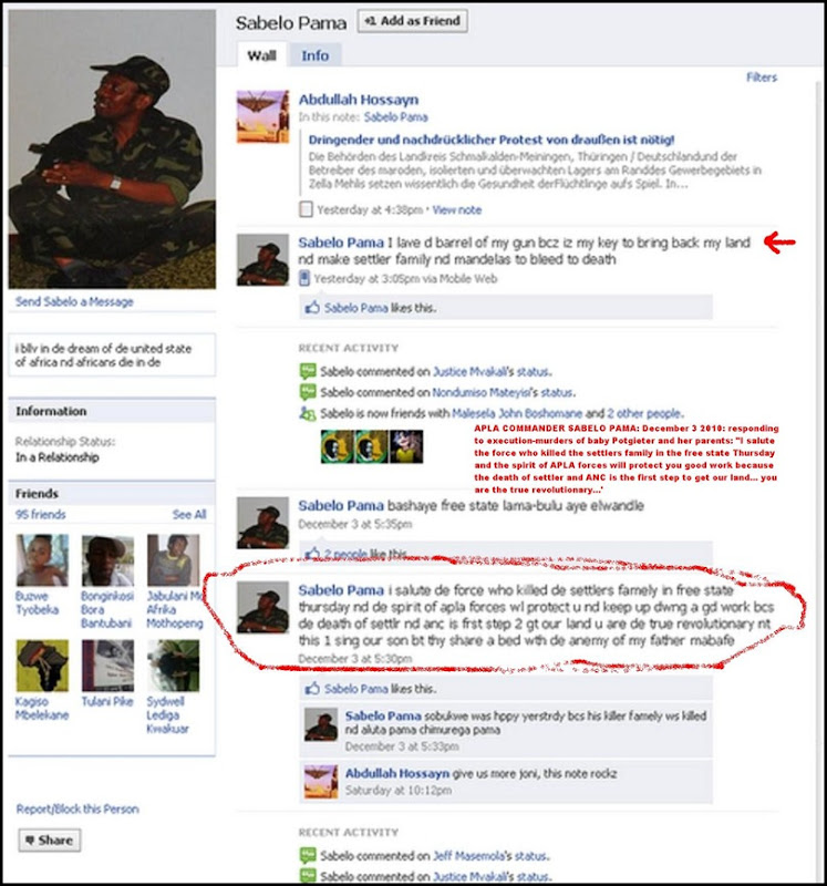 ANTIWHITE HATESPEECH SABELO PAMA FACEBOOK PAGE1 POTGIETER FAMILY MURDER DEC12010