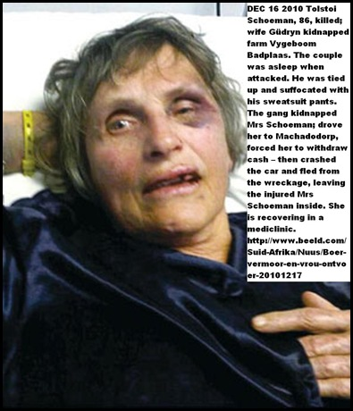 Schoeman Gdryn survived farm attack husband Tolstoi killed Dec162010 Badplaas