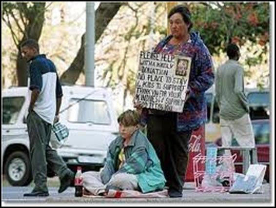 AFRIKANER POOR BEGGING FOR FOOD