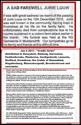 Louw Jurie Kromdraai Krugersdorp attack nothing robbed Nov282010 DIES OF INJURIES3