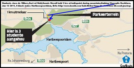 MAP HARTBEESPOORT ROCKCLIMBERS ATTACKED JAN2011