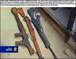 ARMS CACHE PLASTIC TOY GUNS DISPLAY CONFISCATED DURBANVILLE JAN162011