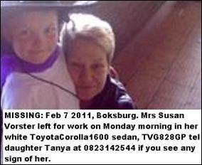 Vorster Susan missing Boksburg Feb52011